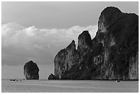 Cliffs and clouds, Lo Dalam bay, Ko Phi-Phi island. Krabi Province, Thailand ( black and white)