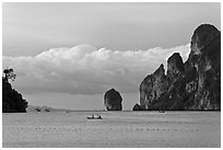 Distant boats and cliffs, Lo Dalam bay, Ko Phi-Phi Don. Krabi Province, Thailand ( black and white)