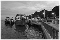 Pier at dusk, Ao Ton Sai, Ko Phi Phi. Krabi Province, Thailand (black and white)