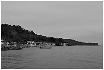 Shoreline and hills at dusk, Phi-Phi island. Krabi Province, Thailand ( black and white)