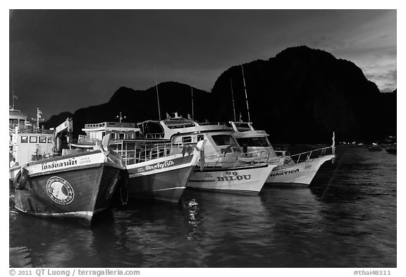 Fishing and tour boats at night, Ko Phi-Phi Don. Krabi Province, Thailand