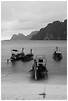 Beach and longtail boats in rainy weather, Ao Ton Sai, Ko Phi Phi. Krabi Province, Thailand (black and white)
