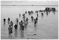 Crowd walking in water, Ko Phi-Phi island. Krabi Province, Thailand (black and white)