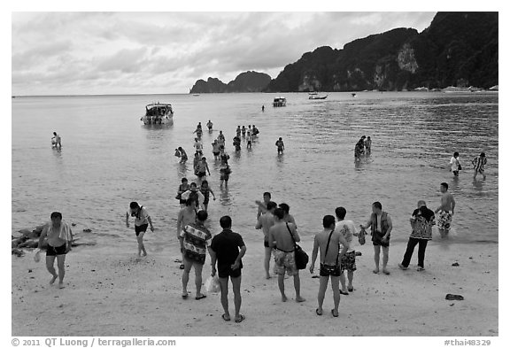 Beach with tourists arriving, Phi-Phi island. Krabi Province, Thailand