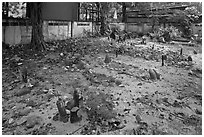 Muslim burying grounds, Ko Phi-Phi island. Krabi Province, Thailand (black and white)