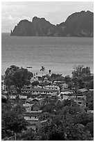 Village, bay and cliffs, Ko Phi-Phi island. Krabi Province, Thailand ( black and white)