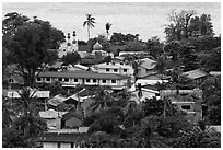 Village and mosque from above, Ko Phi-Phi Don. Krabi Province, Thailand ( black and white)