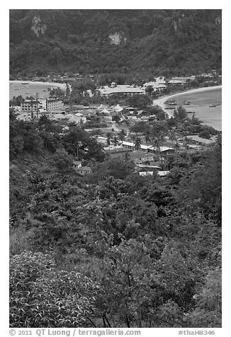 Tonsai village from above, Ko Phi Phi. Krabi Province, Thailand (black and white)