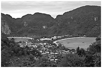 Twin bays and craggy hills, Ko Phi-Phi island. Krabi Province, Thailand (black and white)