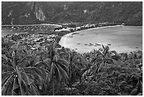 Isthmus betwen Ton Sai and Lo Dalam bays, Ko Phi-Phi Don. Krabi Province, Thailand (black and white)