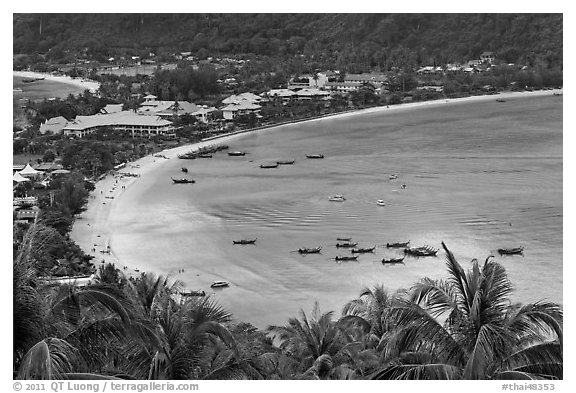 Ao Lo Dalam from above, Ko Phi Phi. Krabi Province, Thailand (black and white)