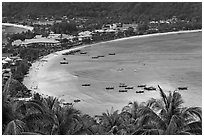 Ao Lo Dalam from above, Ko Phi Phi. Krabi Province, Thailand ( black and white)