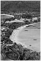 Lo Dalam beach and Tonsai village from above, Phi-Phi island. Krabi Province, Thailand (black and white)