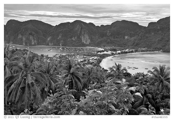 Panoramic view of isthmus and Tonsai village, Ko Phi-Phi island. Krabi Province, Thailand (black and white)