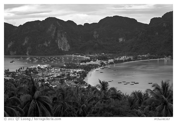 Tonsai village, bays, and hill at dusk from above, Ko Phi Phi. Krabi Province, Thailand (black and white)