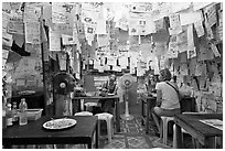 Pad Thai restaurant festoned with customer notes, Phi-Phi island. Krabi Province, Thailand (black and white)