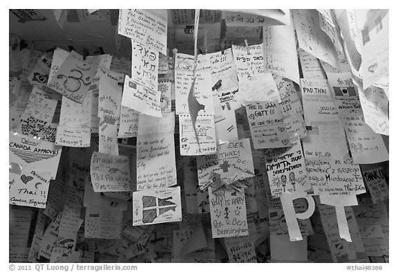 Notes left by customers from all around the world, Ko Phi-Phi island. Krabi Province, Thailand (black and white)