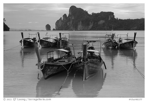 Tranquil waters of Ao Lo Dalam bay with longtail boats, Phi-Phi island. Krabi Province, Thailand (black and white)