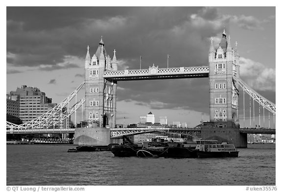 Black and white picture photo barges and tower bridge london england united kingdom