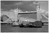 Barges and Tower Bridge. London, England, United Kingdom (black and white)