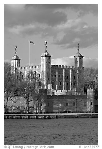Tower of London seen across the Thames, late afternoon. London, England, United Kingdom (black and white)