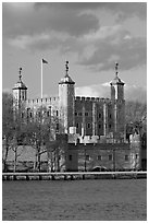 Tower of London seen across the Thames, late afternoon. London, England, United Kingdom ( black and white)