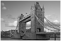 Close view of Tower Bridge, at sunset. London, England, United Kingdom (black and white)