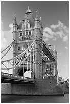 Tower Bridge from below. London, England, United Kingdom ( black and white)
