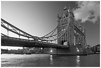 Wide view of Tower Bridge, a landmark 1876 bascule bridge. London, England, United Kingdom (black and white)
