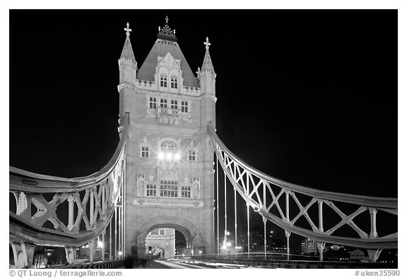 North Tower of the Tower Bridge at night. London, England, United Kingdom (black and white)