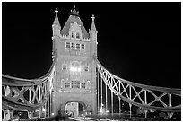 North Tower of the Tower Bridge at night. London, England, United Kingdom ( black and white)