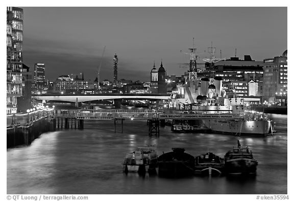 Black and white picture photo hms belfast london bridge and thames at night london england united kingdom