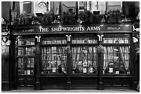 Pub The Shipwrights Arms at night. London, England, United Kingdom (black and white)