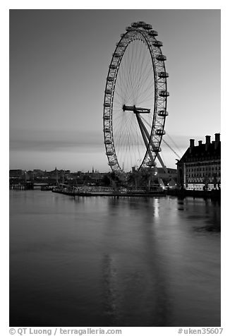 London Eye and Thames River at dawn. London, England, United Kingdom (black and white)