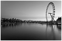 Thames River and Millennium Wheel at dawn. London, England, United Kingdom ( black and white)