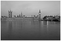 Houses of Parliament and Thames at dawn. London, England, United Kingdom (black and white)