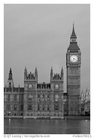 Big Ben tower, palace of Westminster, dawn. London, England, United Kingdom (black and white)