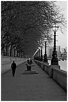Riverfront promenade. London, England, United Kingdom ( black and white)
