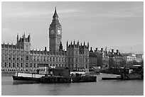 Boats and Houses of Parliament, early morning. London, England, United Kingdom (black and white)