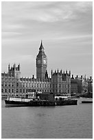 Houses of Parliament across the Thames, early morning. London, England, United Kingdom (black and white)
