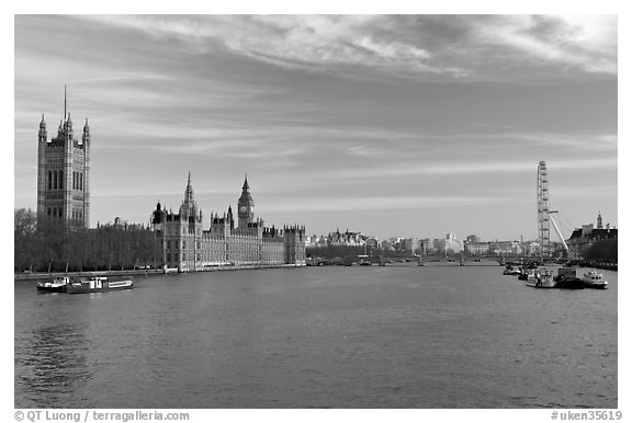 London Skyline with Westminster Palace, Westminster Bridge, and Millennium Wheel. London, England, United Kingdom (black and white)