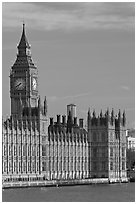 Houses of Parliament and Clock Tower, morning. London, England, United Kingdom (black and white)