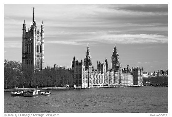 Victoria Tower and palace of Westminster. London, England, United Kingdom (black and white)