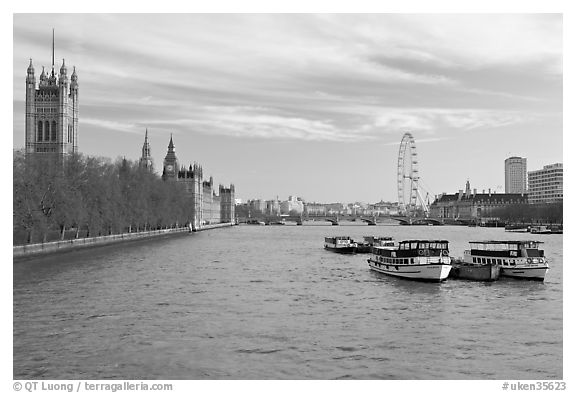 Skyline with Victoria Tower, Westminster Palace, Thames River and London Eye. London, England, United Kingdom (black and white)