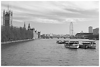 Skyline with Victoria Tower, Westminster Palace, Thames River and London Eye. London, England, United Kingdom ( black and white)