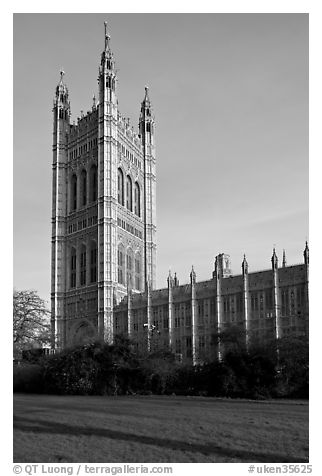 Victoria Tower seen from the Victoria Tower Gardens. London, England, United Kingdom (black and white)