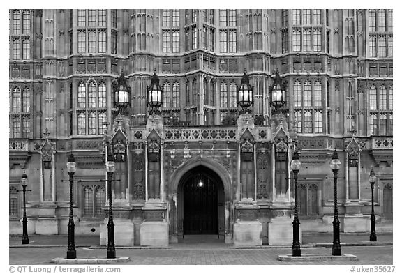 Gothic facade of Westminster Palace. London, England, United Kingdom (black and white)