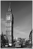 Double decker bus on Westminster Bridge  and Big Ben. London, England, United Kingdom (black and white)