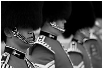Close up of guards in ceremonial dress. London, England, United Kingdom (black and white)