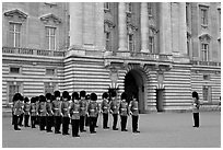 Household division guards during the changing of the Guard ceremonial. London, England, United Kingdom (black and white)